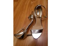 Next Size 6 Silver Sandals with stiletto heel. Used.