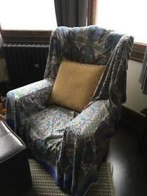 Large vintage green armchair