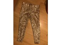 zara gold leggings