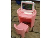 Little Tikes toddler pink make up dressing table with fold down mirror & chair