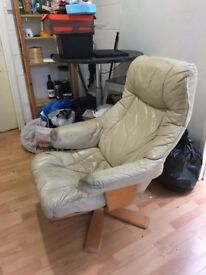 Leather Arm Chair + Foot rest