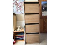 Wood effect 4 drawer filing cabinet with hanging files