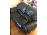 Soft, black leather, double sofa bed