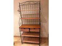 Hall Shelf/Storage unit. Metal frame with 5 shelves and 2 basket drawers