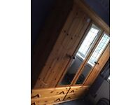 4 door wardrobe with chest of drawers and mirror