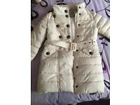 Next winter girls cream coat age 5-6 years