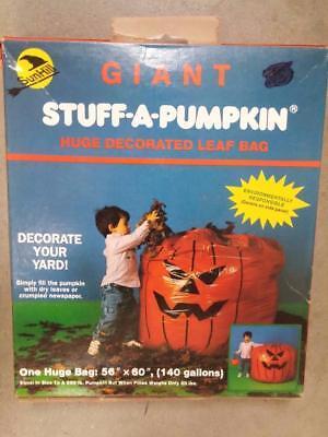 VTG 1989 HALLOWEEN GIANT Stuff A Pumpkin Leaf Bag 140 Gallon Biodegradeable