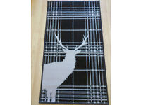 Chocolate Brown Stag Deer Tartan Check Rug Soft Short Pile - 60 X 110CM - New