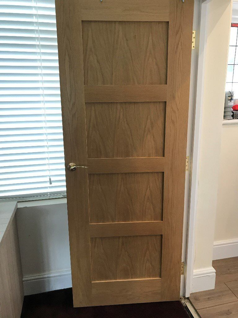 3 x wickes marlow internal oak veneer fire door 4 panel. Black Bedroom Furniture Sets. Home Design Ideas