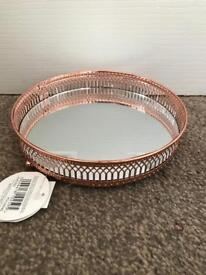 Brand new with tag 20cm Rose Gold Copper Round Mirrored Tray Plate with Ornate Metal Trim.