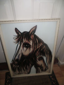 Picture,very striking horse picture under glass,signed cant read signature,oil?,look at the eyes