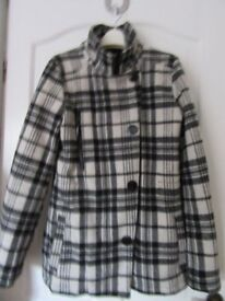 Ladies Beautiful Lined Wool Coat - Size 10 (M) - Brand New (Firetrap) Black/White