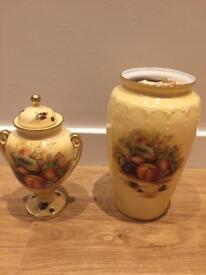 Aynsley Orcahrd Gold Vases