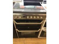 INDESIT BRAND NEW 60CM CEROMIC TOP ELECTRIC COOKER IN SHINY SILIVER