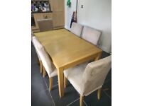 Ikea extendable Oak table and 6 matching chairs