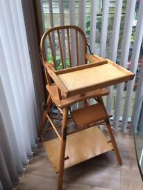 Wooden Ercol style baby high chair, mid century