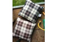 4 cushions for garden bench - two are with tie on cushions for seats