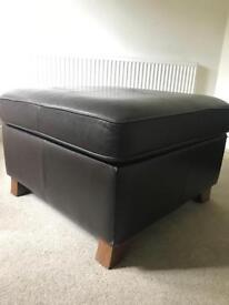 Leather footstool / ottoman
