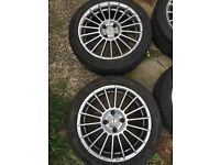 Set of 4 4x108 fox alloys and tires suitable for ford, Peugeot or citreon