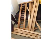 Pine double bed frame and mattress (nearly new, guest room)