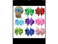 10X Handmade Bow Hair Clip(10 Polka-dot Patterns)