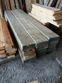 "8! x 3"" pressure treated timber 9ft lengths just £15 per length"