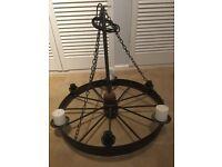 Vintage Metal Spoked Wheel/Hanging Light/Chandelier