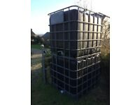 2 X LARGE IBC WATER BUTTS: 1000L: BLACK, SQUARE IN ALUMINIUM CAGE.