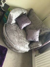 Crushed velvet sofa &a cuddle chair