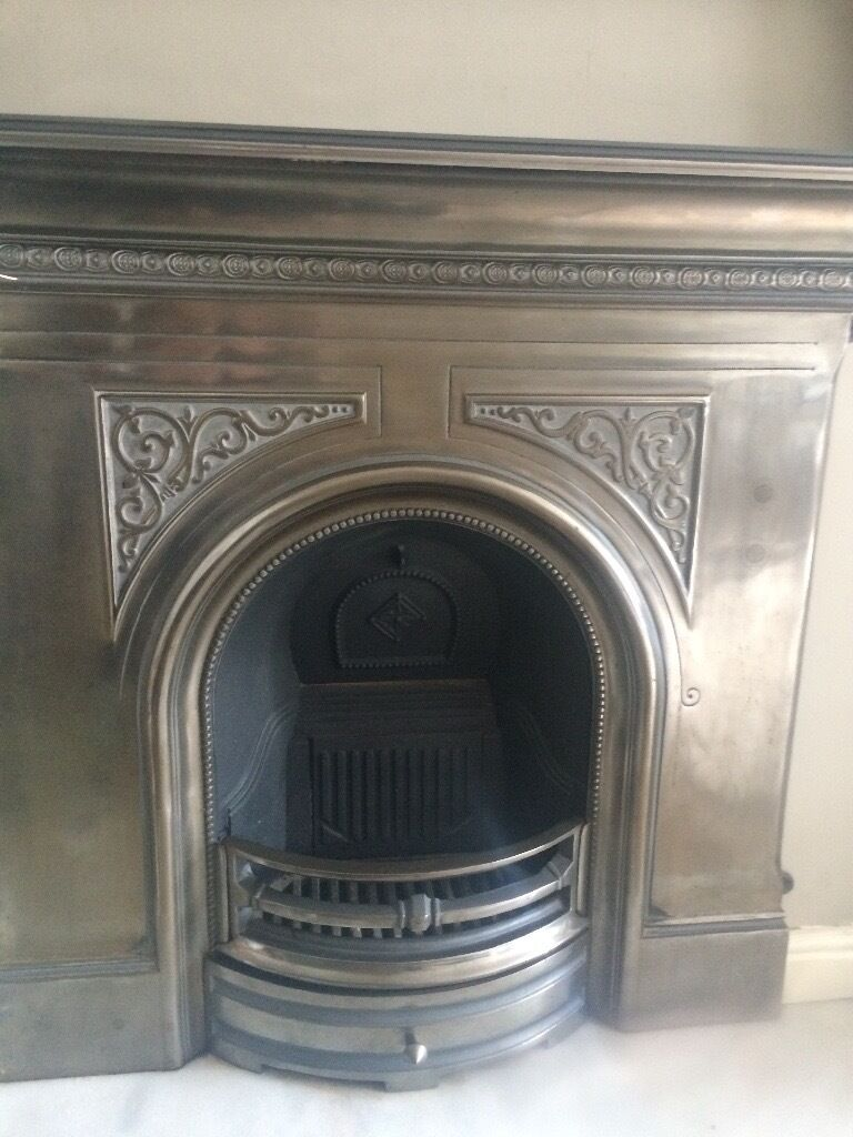 "Cast Iron Fireplace with pewter finish, 39"" width, 47"" mantle and 41"" height"
