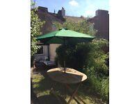 Large green parasol