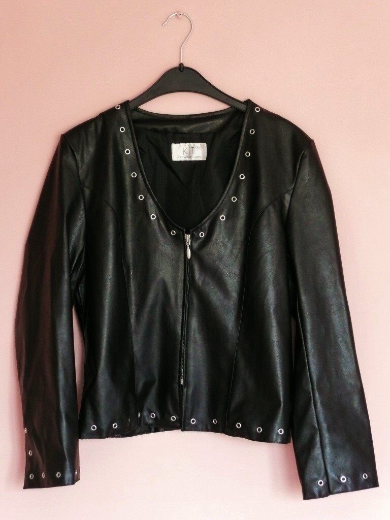 d79f6fbb3a70e4 Womens Collarless Black Short Polyurethane   Faux Leather Jacket with  Eyelet Detail Size 10-12