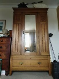 Ornate Edwardian Wardrobe with inbuilt mirror and drawer (205 x 113 x 45)
