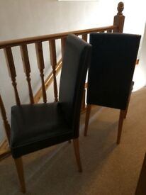 2 Leather/Solid Oak Chairs