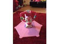 Fisher price bounce & spin pink zebra