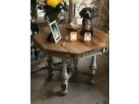 stunning antique shabby chic solid oak octagonal occasional table