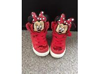 Gorgeous toddler girls size 4 next Minnie Mouse hightop trainers