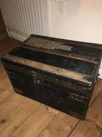 Antique leather covered travel chest
