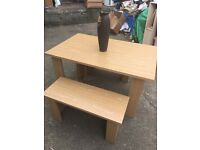 AS NEW NATURAL OAK TABLE & TWIN BENCH SET RRP £289