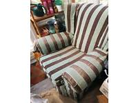 2 wing backed armchairs