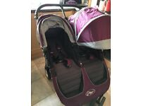 Baby Jogger City Mini Double Pram/Buggy - with 2 x footmuffs and rain cover - Excellent Condition