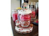 Yankee candy cane complete set with topper and snow globe base