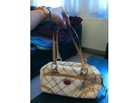Coach Handbag - Cream with Tattersall Plaid
