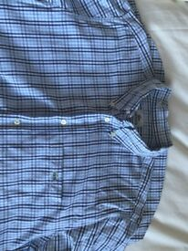 MENS Lacoste shirt sleeved blue striped shirt size 42 in fantastic condition