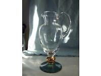 Lovely quality retro vintage glass water / wine pitcher jug with ice lip