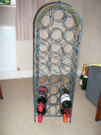 WINE RACK, strong, metal with wicker trim.