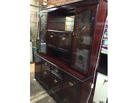 Welsh dresser, dark wood veneer, display/storage cabinet