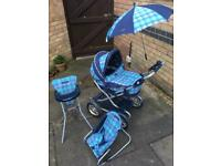 Mamas & Papas dolls pram, high chair and rocker chair