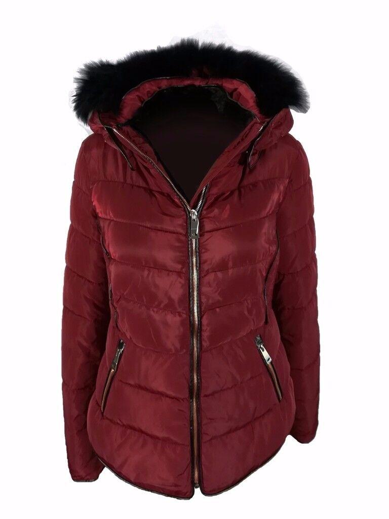 AMAVISSE UK - Women Clothes Fashion Tight Puffy Puffer Jacket with Faux Fur Hood Zip