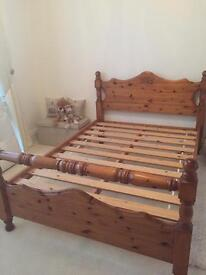 Double bed frame antique oak